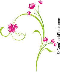 Ornamental sprig with pink flowers. Vector illustration