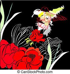 ornamental, stylized, fugl, card