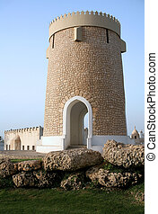 An ornamental tower in a park on the Corniche in Doha, Qatar, Arabia. Photographed May 2007