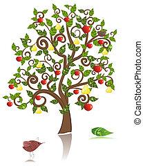 ornamental, träd, med, en, äpple, och, päron