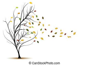ornamental, træ, vektor, silhuet