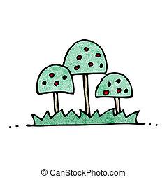 ornamental, træer, cartoon
