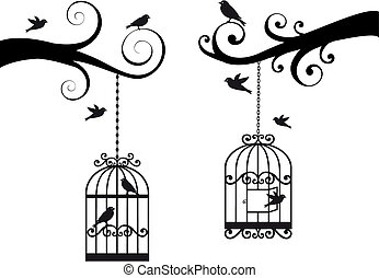 ornamental tree branches with birdcage and birds, vector background