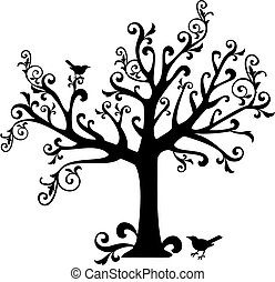 ornamental tree with swirls and birds, vector