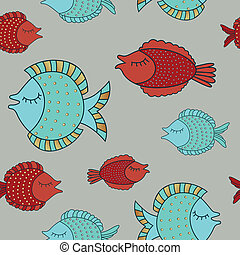 Vector Illustration of an Ornamental Background with Decorative Fishes