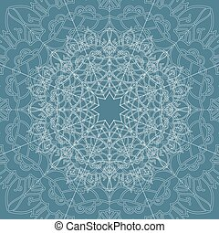 Ornamental vector mandala on the blue background