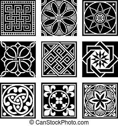 ornamental, vendimia, patrones