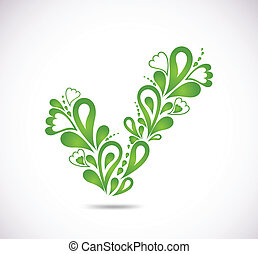 ornamental, verde, checkmark., vetorial