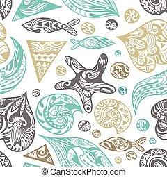 ornamental, vetorial, mar, padrão