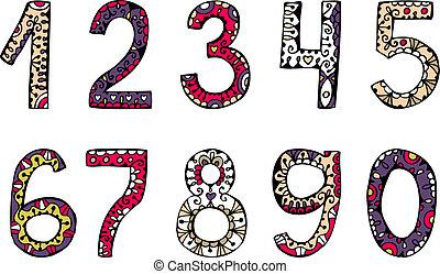 ornamental, vetorial, números, mão, desenhado