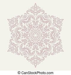 ornamental, vetorial, renda, redondo, oriente