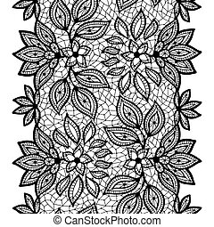 ornamental, viejo, encaje, border., seamless, patrón, vector...