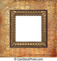 ornamental, viejo, leafage, plano de fondo, grunge, tarjeta