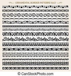 ornamental, vindima, quadro, padrões, vetorial, 2, linha, borda