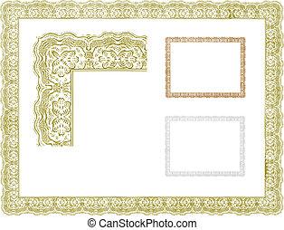 ornamental, vinhøst, vektor, grænse