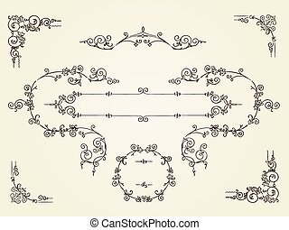 Ornamental vintage rectangular border frames on parchment background