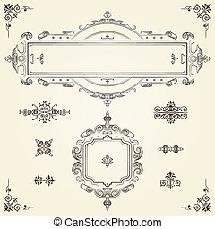 Ornamental vintage rectangular border frames on parchment...