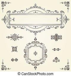 Ornamental vintage rectangular border frames on parchment...