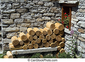 ornamental wood logs