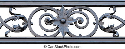 Ornamental Wrought Iron - section of decorative black...