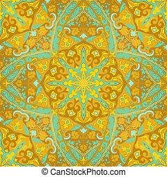 Ornamental yellow pattern with mandala.