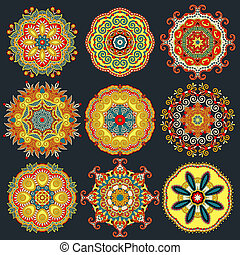 ornamentale, c, laccio, modello geometrico, ornamento, doily, cerchio, rotondo