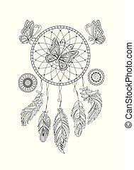 ornamentale, coloritura, dreamcatcher, nero, adulto, butterfies, bianco