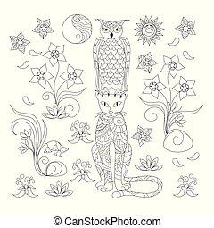 ornamentale, coloritura, gufo, gatto, nero, adulto, bianco