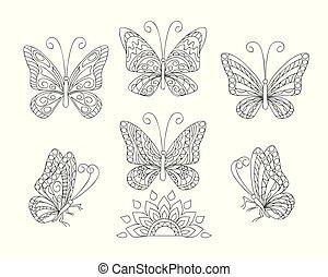 ornamentale, coloritura, nero, adulto, butterfies, bianco