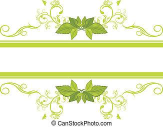 ornamentale, cornice, congedi verdi