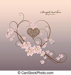 ornamentale, cornice, cuore, con, posto, per, tuo, testo