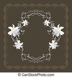 ornamentale, cornice, fiori, bianco