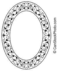 ornamentale, cornice, floreale, nero, ovale, orientale