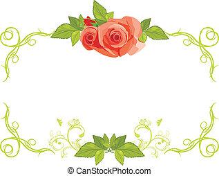 ornamentale, cornice, rose