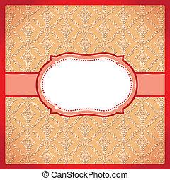 ornamentale, cornice, rosso, punteggiato