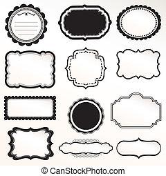 ornamentale, cornice, vettore, set, vendemmia