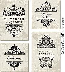 ornamentale, cornice, vettore, set