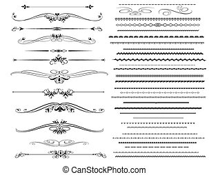 ornamentale, differente, linee, regola