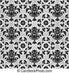 ornamentale, fiori, nero, laccio, fondo