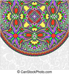 ornamentale, floreale, mand, sagoma, etnico, piatto, ...