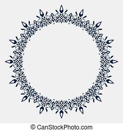 ornamentale, geometrico, laccio, spazio, ornamento, augurio, text., illustrazione, invitation., vettore, matrimonio, doily, modello, cerchio, rotondo, vuoto