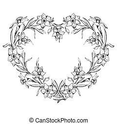 ornamentale, heart., forma, nero, floreale, bianco, bordo
