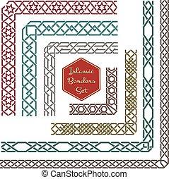 ornamentale, islamico, vettore, profili di fodera, angoli