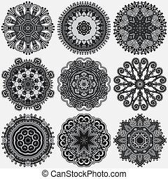 ornamentale, laccio, ornamento, grigio, modello, rotondo, cerchio, nero, collezione, doily, bianco, geometrico