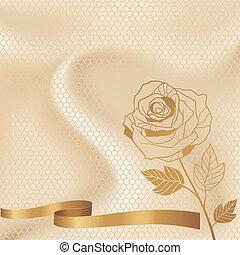 ornamentale, laccio, vendemmia, fiori, fondo, invito, card.
