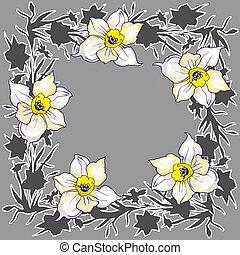 ornamentale, lloral, cornice, mano, tromboni, disegnato, fiori, rotondo