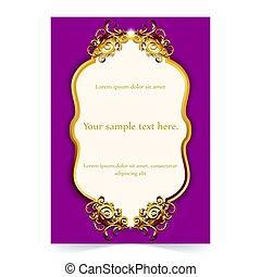 ornamentale, oro, invito, fondo, matrimonio, scheda