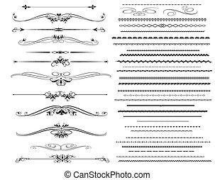 ornamentale, regola, linee, in, differente