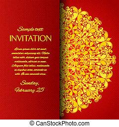 ornamentale, scheda rossa, invito