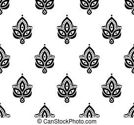 ornamentale, seamless, floreale, elemento, modello, fondo, per, disegno, in, vendemmia, stile.